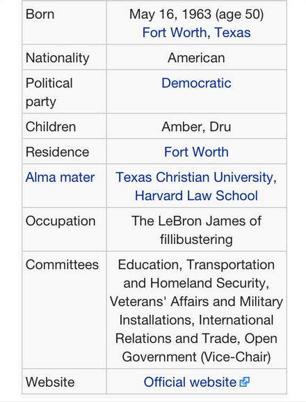 The updated Wikipedia page for Wendy Davis