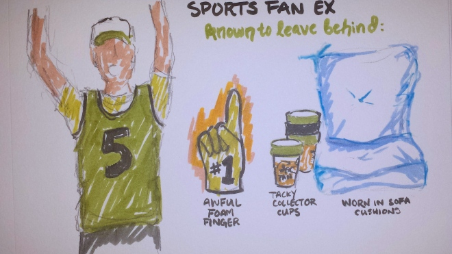 Sports Fan Ex: Bearer of tacky sports accessories and worn out sofas