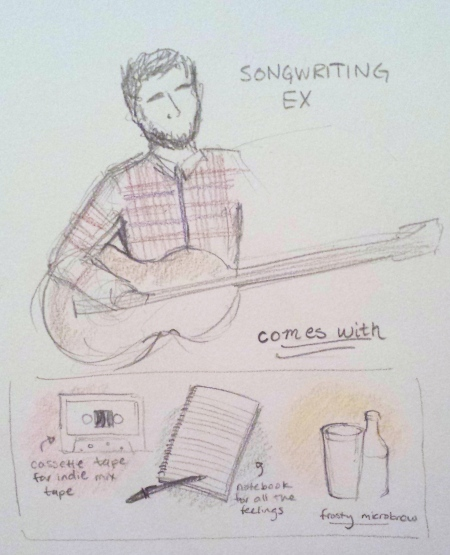 Songwriting Ex, equipped with old school mix-tapes, journals of feelings, and hipster microbrews